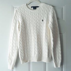 Ralph Lauren Cream Cable Knit Pullover Sweater L